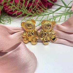 ⚜️VINTAGE Golden Teddy Bear Clip Earrings